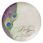 Peacock Feathers Formal Wedding Anniversary Gift Party Plates