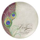 Peacock Feathers Formal Wedding Anniversary Gift Dinner Plate