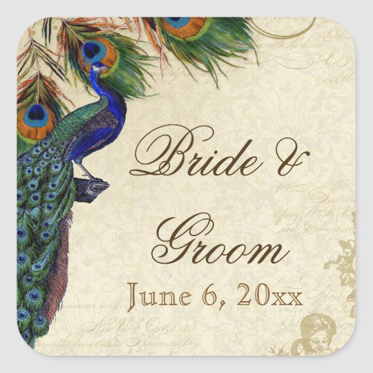 Peacock & Feathers Formal Wedding Favor Seals Tags