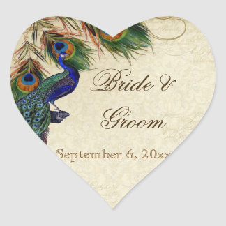 Peacock Feathers Formal Wedding Favor Seals Tags Heart Sticker