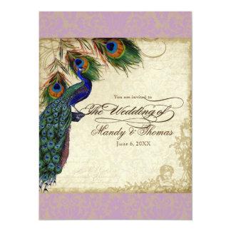 Peacock & Feathers Formal Wedding Invite Aqua Blue