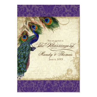 Peacock & Feathers Formal Wedding Invite Purple