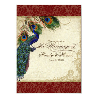 Peacock & Feathers Formal Wedding Invite Red