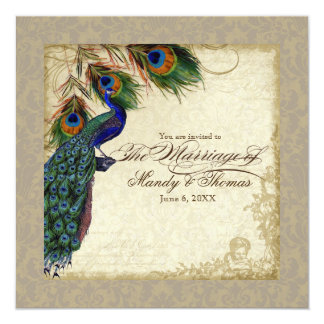 Peacock & Feathers Formal Wedding Invite Taupe Tan