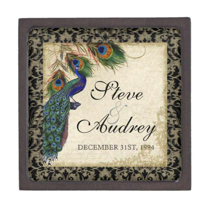 Peacock & Feathers Formal Wedding Ring Trinket Jewelry Box