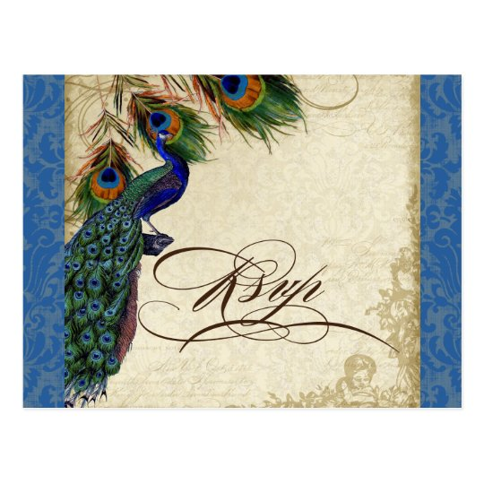 Peacock & Feathers Formal Wedding RSVP Response Postcard