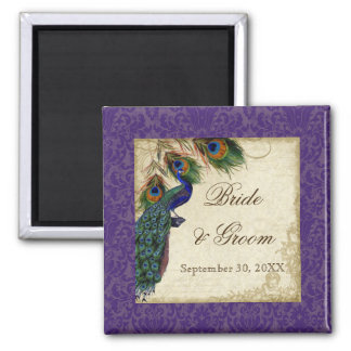 Peacock & Feathers Formal Wedding Save the Date Refrigerator Magnets