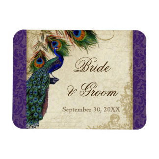 Peacock & Feathers Formal Wedding Save the Date Flexible Magnet