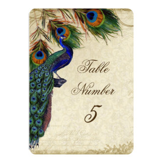 Peacock & Feathers Formal Wedding Table Number 5 5x7 Paper Invitation Card