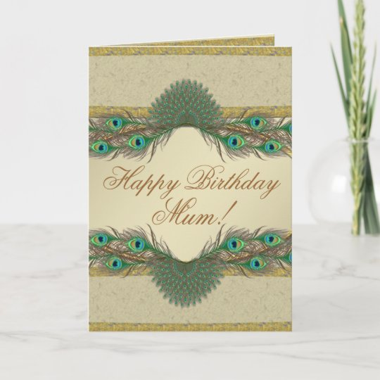 Peacock Feathers Frame Mothers Birthday Cards