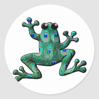 Peacock Feathers Frogs Classic Round Sticker