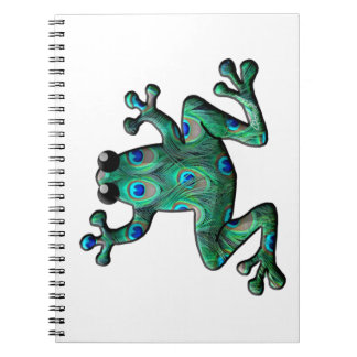 Peacock Feathers Frogs Notebook