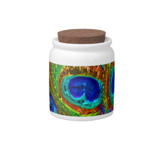 Peacock Feathers Glass Art 1 Candy Jar
