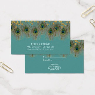 Peacock Feathers & Gold ANY COLOR Refer a Friend Business Card