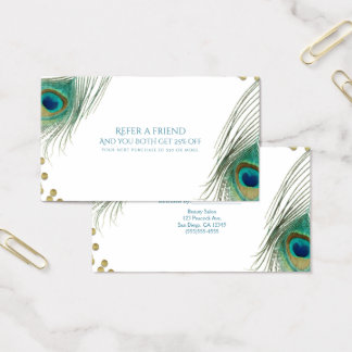 Peacock Feathers & Gold Boho Glam Refer a Friend Business Card