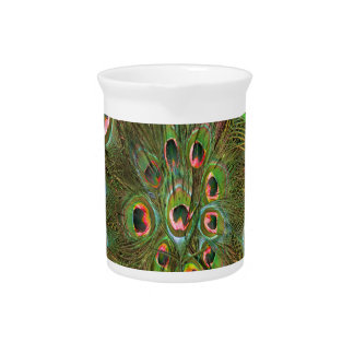 Peacock feathers green Background Drink Pitcher