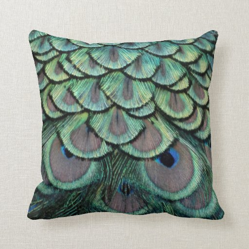 Peacock Feathers grey and green Throw Pillow Zazzle