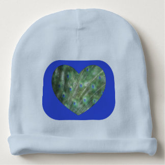 Peacock Feathers Heart Baby Beanie