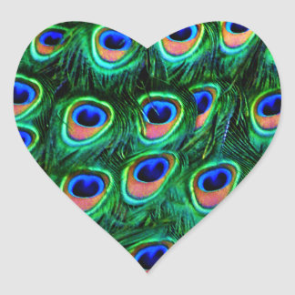 Peacock feathers_ heart sticker