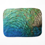 Peacock Feathers I Colorful Abstract Nature Design Baby Burp Cloth