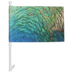 Peacock Feathers I Colorful Abstract Nature Design Car Flag