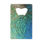 Peacock Feathers I Colorful Abstract Nature Design Credit Card Bottle Opener