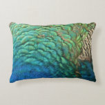 Peacock Feathers I Colorful Abstract Nature Design Decorative Pillow