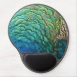 Peacock Feathers I Colorful Abstract Nature Design Gel Mouse Pad