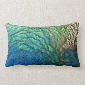 Peacock Feathers I Colorful Abstract Nature Design Lumbar Pillow
