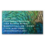 Peacock Feathers I Colorful Abstract Nature Design Magnetic Business Card