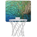Peacock Feathers I Colorful Abstract Nature Design Mini Basketball Hoop