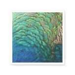 Peacock Feathers I Colorful Abstract Nature Design Paper Napkin