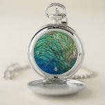 Peacock Feathers I Colorful Abstract Nature Design Pocket Watch