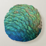 Peacock Feathers I Colorful Abstract Nature Design Round Pillow