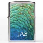 Peacock Feathers I Colorful Abstract Nature Design Zippo Lighter