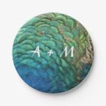 Peacock Feathers I Colorful Nature Personalized Paper Plate