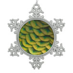 Peacock Feathers II Colorful Nature Design Snowflake Pewter Christmas Ornament