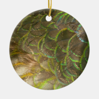 Peacock Feathers III (Female) Subtle Nature Design Ceramic Ornament
