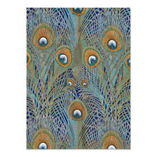 Peacock Feathers in Blue Card