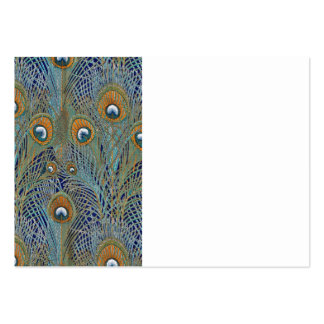 Peacock Feathers in Blue Large Business Card