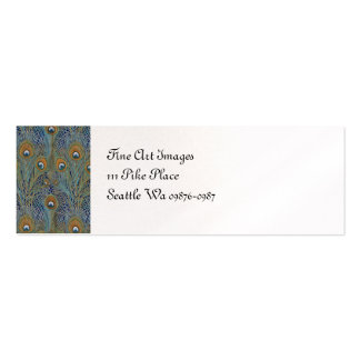 Peacock Feathers in Blue Mini Business Card