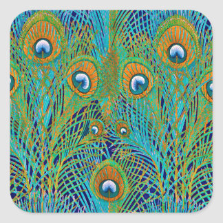 Peacock Feathers in Bright Colors Square Sticker