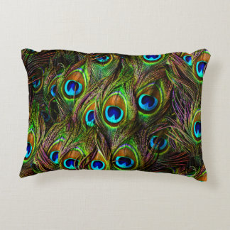 Peacock Feathers Invasion Accent Pillow