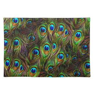 Peacock Feathers Invasion Cloth Placemat