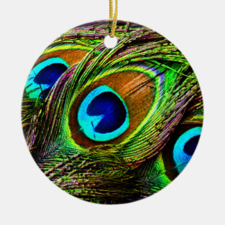 Peacock Feathers Invasion - Double-Sided Ceramic Round Christmas Ornament