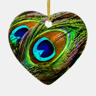 Peacock Feathers Invasion - Double-Sided Heart Ceramic Christmas Ornament