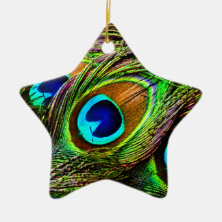 Peacock Feathers Invasion - Double-Sided Star Ceramic Christmas Ornament