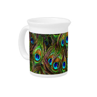 Peacock Feathers Invasion - Drink Pitchers