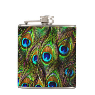 Peacock Feathers Invasion Hip Flasks