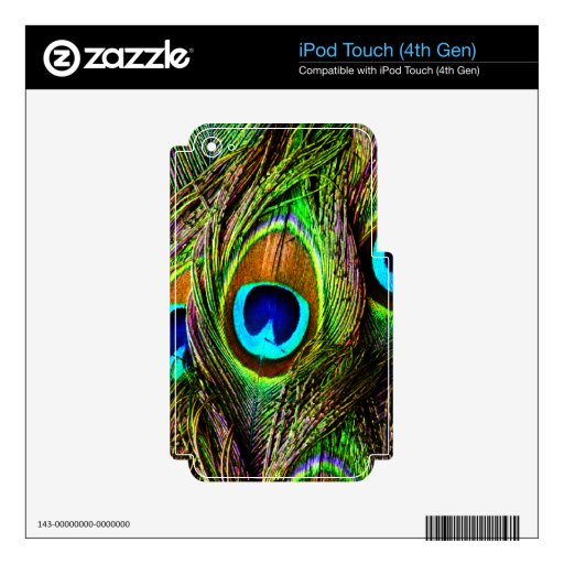 Peacock Feathers Invasion - iPod Touch 4G Decal